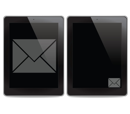 Mail icon on tablet computer background photo