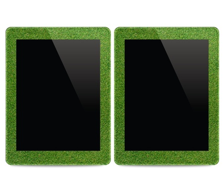 Tablet computer of grass, Concept photo