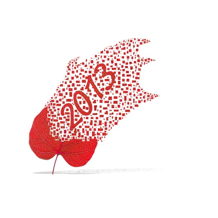 Red leaf of 2013 year on white background photo