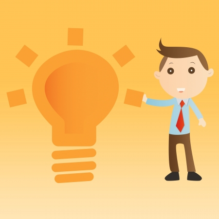 Businessman with bulb light on yellow background photo