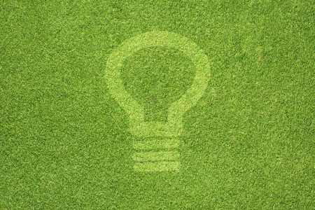 Bulb light icon on green grass texture and  background Stock Photo - 14643510