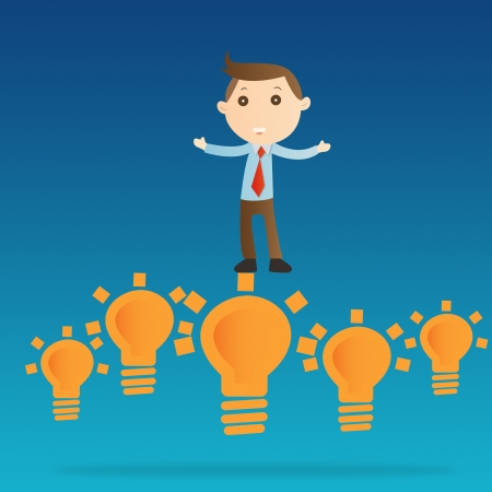 Businessman with bulb light on blue background photo