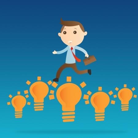 Businessman jump bulb light on blue background Stock Photo - 14643454