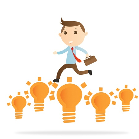 Businessman jump bulb light on white background Stock Photo - 14643445