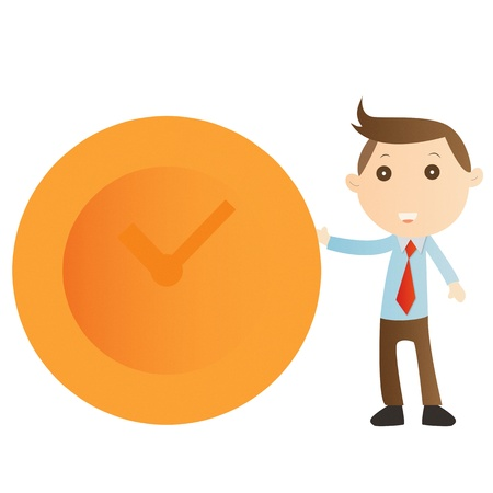 Businessman with clock on white background Stock Photo - 14690204