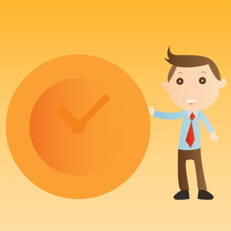 Businessman with clock on yellow background Stock Photo - 14690207