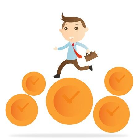 Businessman jump clock on white background Standard-Bild