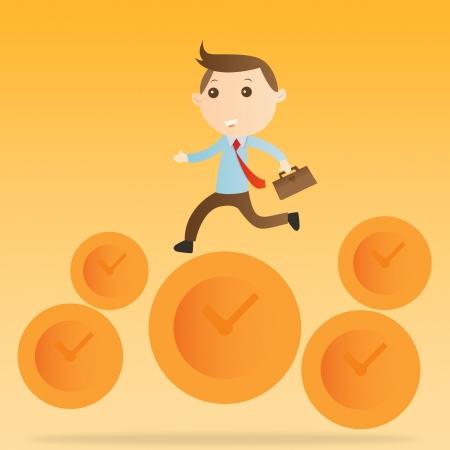 Businessman jump clock on yellow background photo