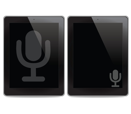 Microphone icon on tablet computer background photo