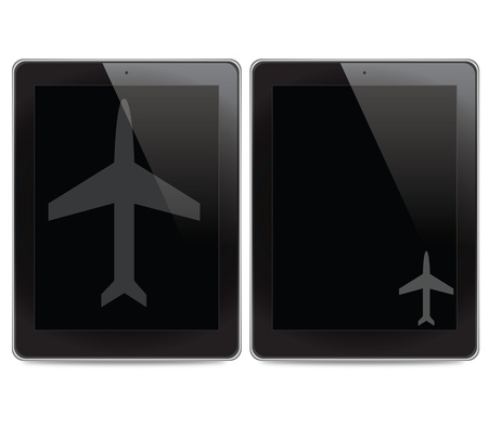 Airplane icon on tablet computer background photo