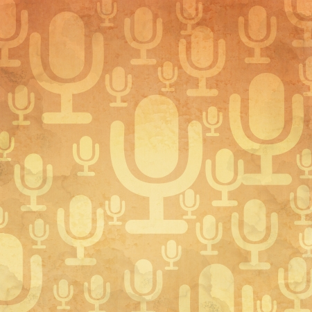 Microphone icon on old paper background and pattern photo