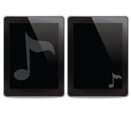 Music icon on tablet computer background photo