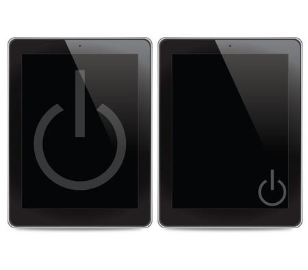shutdown: Shutdown icon on tablet computer background