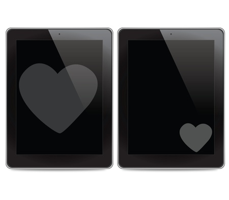 Heart icon on tablet computer background photo