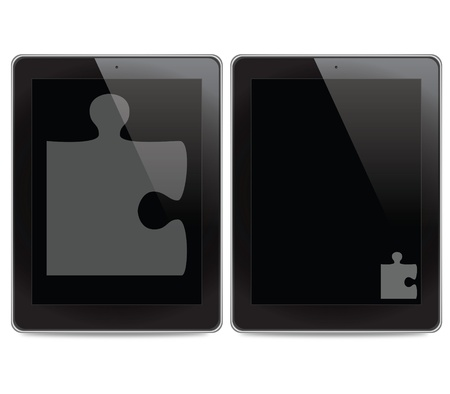 Jigsaw icon on tablet computer background photo