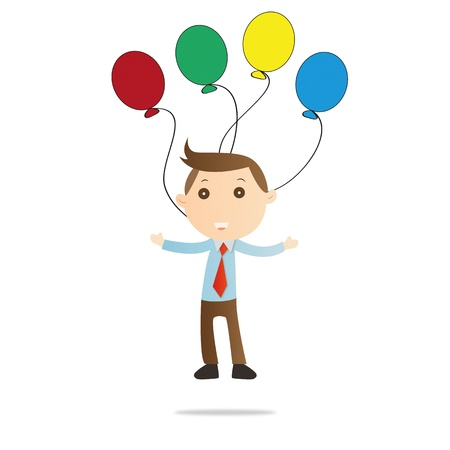 Businessman with balloon on white background Stock Photo - 14777741