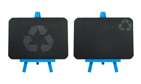 Recycle icon on blank blackboard background photo