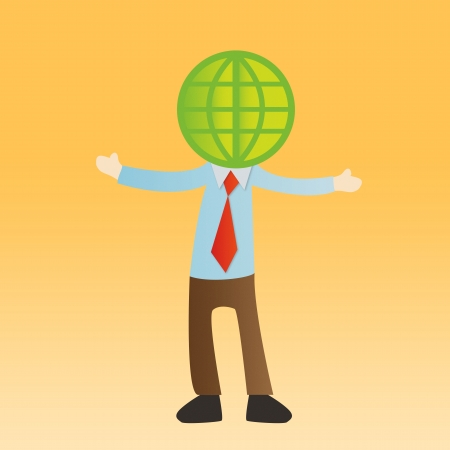 Businessman with global on yellow background photo
