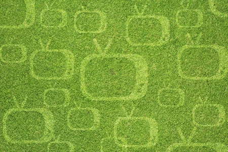 Television icon on green grass texture and  background photo