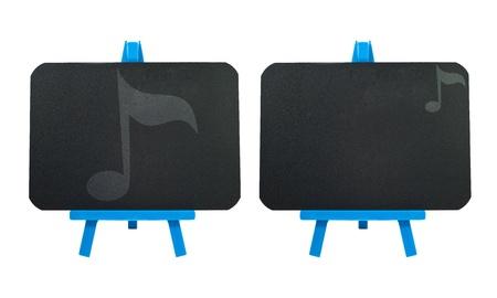 Music icon on blank blackboard background photo