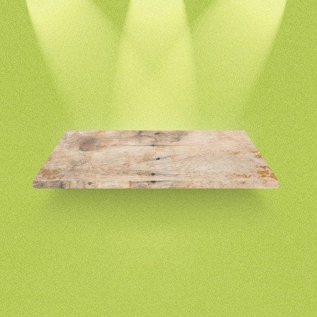Empty shelf of wood for exhibition photo
