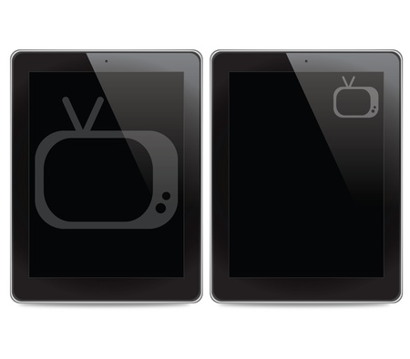 Television icon on tablet computer background photo