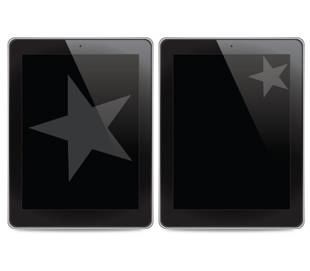 Star icon on tablet computer background Stock Photo - 14890791