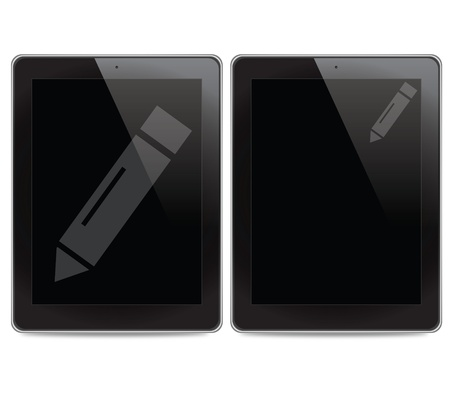 Pencil icon on tablet computer background Stock Photo - 14889157