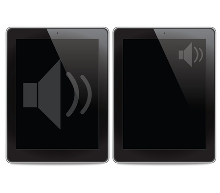 Speaker icon on tablet computer background Stock Photo - 14968041