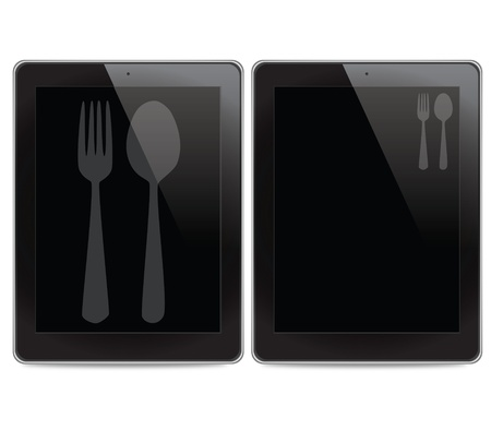 Fork and spoon icon on tablet computer background photo