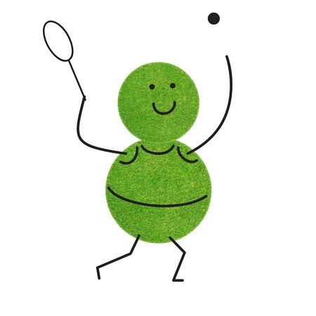 Emotion tennis of sport green grass on white background photo