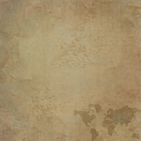 World map icon on old paper background and pattern