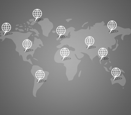 Global button on world map background