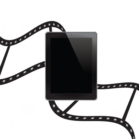 Tablet computer with film background Stock Photo - 15092104