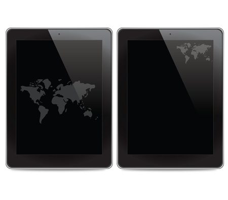 World map icon on tablet computer background Stock Photo - 15132998