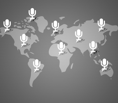 Microphone button on world map background