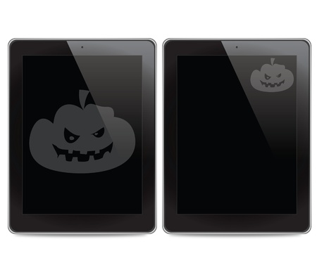 Pumpkin icon on tablet computer background photo
