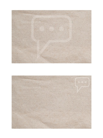 Comment icon on paper background and textured