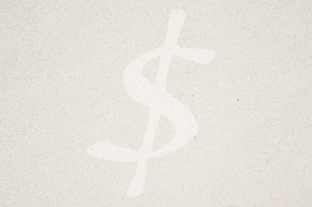 sand dollar: Dollar icon on sand background and textured