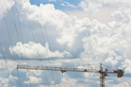 Construction site on clear sky background photo