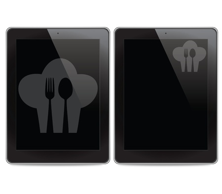 Cook and spoon icon on tablet computer background Stock Photo - 15269487