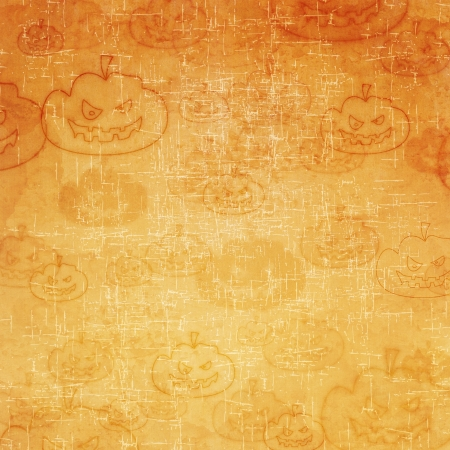 Pumpkin icon on old paper background and pattern photo