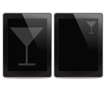 Drink icon on tablet computer background photo