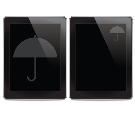 Umbrella icon on tablet computer background photo