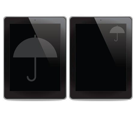 Umbrella icon on tablet computer background Stock Photo - 15697222