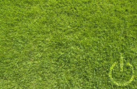 shutdown: Shutdown icon on green grass texture and background