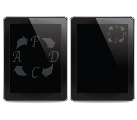 PDCA (Plan Do Check Act) icon on tablet computer background photo