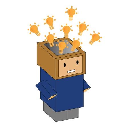 Cartoon box man in vector Stock Vector - 16033510