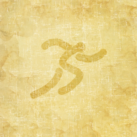 Sport running icon on old paper background and textured photo