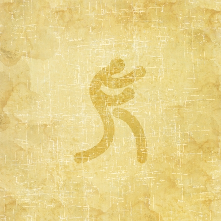 Sport boxing icon on old paper background and textured photo